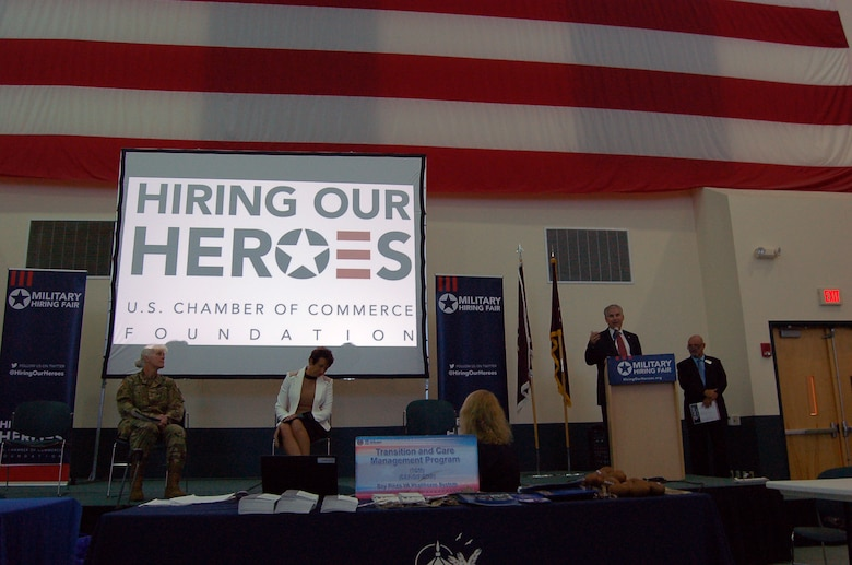 "Mr. Stephen D. Austin, Assistant Chief of Army Reserve, addressed Army Reserve Medical Command Soldiers and thanked employers present during a hiring event held at the C.W. ""Bill"" Young Armed Forces Reserve Center on Friday, Sept. 16.  To date, Hiring Our Heroes, a program of the U.S. Chamber of Commerce Foundation, has assisted in veterans and military spouses obtaining more than 28,000 jobs through their events."