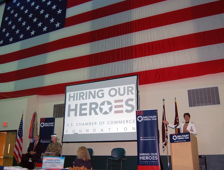 "Ms. Erin Thede, director of the Army Reserve Private Public Partnership (P3) program, addresses Army Reserve Medical Command Soldiers and recognizes the National Chamber of Commerce for their role during the Hiring our Heroes event held at the C.W. ""Bill"" Young Armed Forces Reserve Center on Friday, Sept. 16.  The Army Reserve is a key partner to the Chamber of Commerce for the Hiring Our Heroes event, which hosted approximately 65 employers and service providers who offered employment and training opportunities to more than 200 attendees."