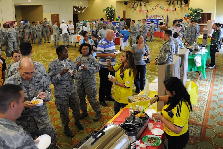 Keesler personnel attend Diversity Day at the Bay Breeze Event Center Sept. 13, 2016, on Keesler Air Force Base, Miss. The cultural celebration included food sampling and information booths about countries around the world and other special emphasis groups. (U.S. Air Force photo by Kemberly Groue/Released)