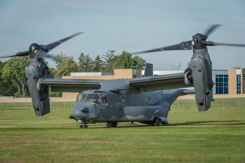 DAYTON, Ohio -- A CV-22 Osprey aircraft assigned to the 20th Special Operations Squadron at Cannon Air Force Base, N.M., lands at the National Museum of the United States Air Force, Sept. 15, 2016 before the Green Hornet Dedication ceremony. The aircraft and crew landed at the museum in tribute to the Green Hornets. (U.S. Air Force photo by Jim Copes)