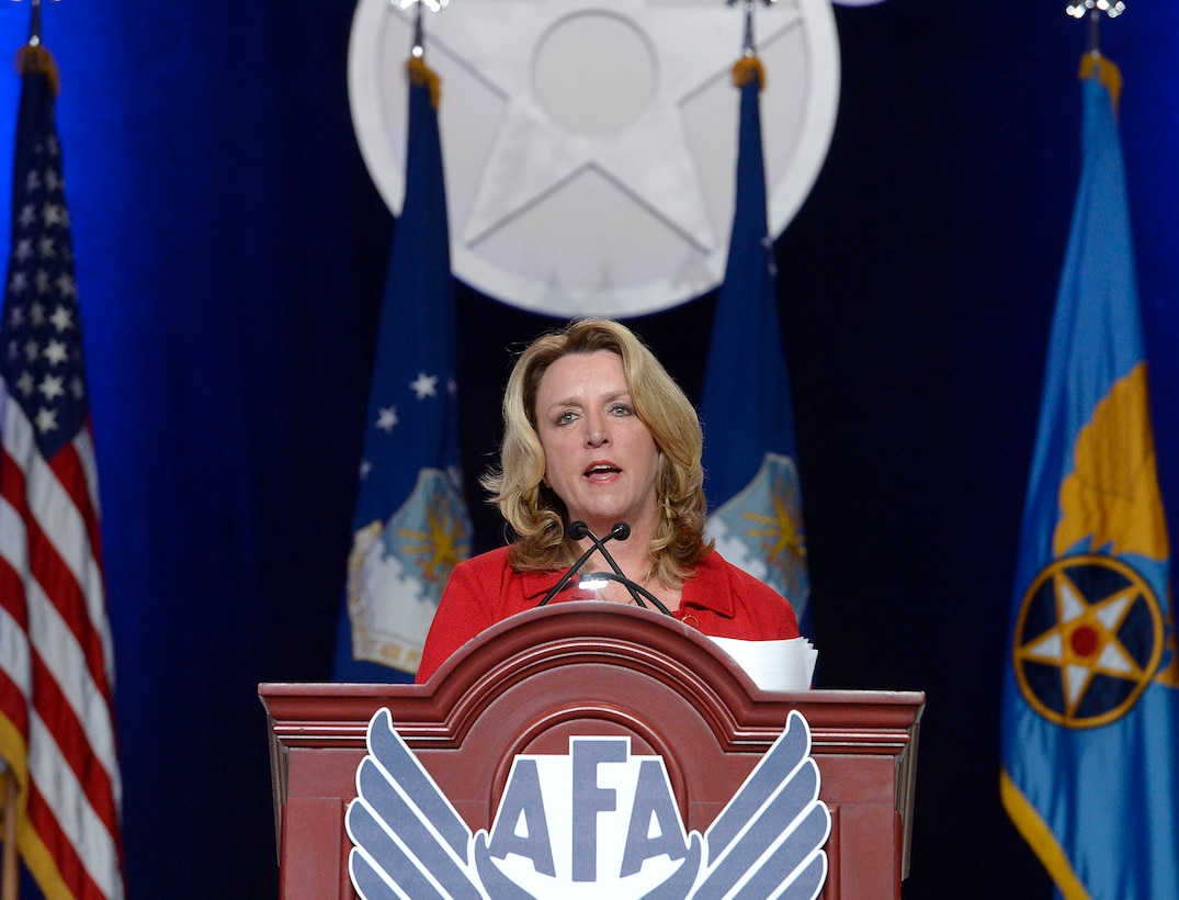 "Air Force Secretary Deborah Lee James gives her ""State of the Force"" address during the Air Force Association's Air, Space and Cyber Conference in National Harbor, Md., Sept. 19, 2016. A highlight of James' presentation was announcing the official name of the Air Force's newest bomber, the B-21 Raider. (U.S. Air Force photo/Scott M. Ash)"