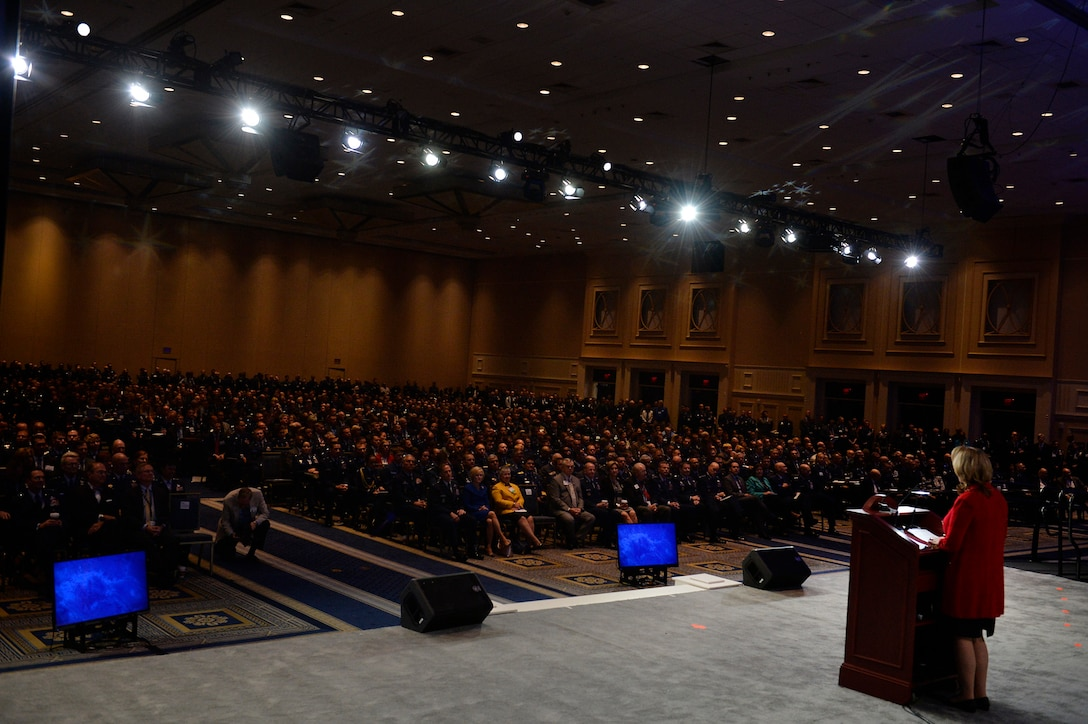 """Air Force Secretary Deborah Lee James gives her """"State of the Force"""" address during the Air Force Association's Air, Space and Cyber Conference in National Harbor, Md., Sept. 19, 2016. (U.S. Air Force photo/Staff Sgt. Whitney Stanfield)"""