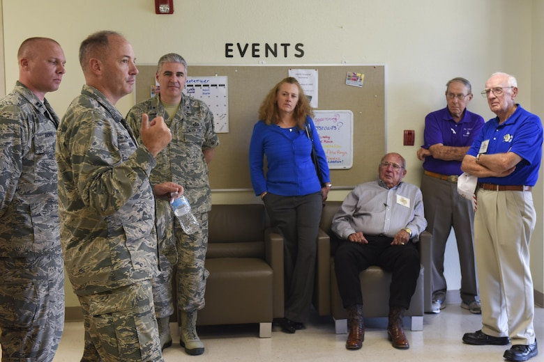 U.S. Air Force Col. Michael Downs, 17th Training Wing Commander, speaks to guests during the Founders Week tour at the Crossroads Student Center on Goodfellow Air Force Base, Texas, Sept. 15, 2016. The Crossroads Student Center exists to give Airmen a place to study and relax. (U.S. Air Force photo by Airman 1st Class Chase Sousa/Released)