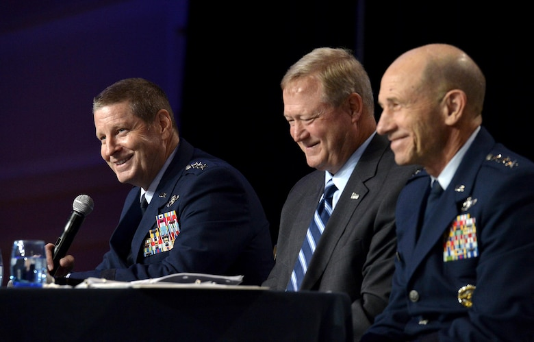 Gen. Robin Rand, the Air Force Global Strike Command commander,  speaks during a B-21 panel at the Air Force Association's Air, Space and Cyber Conference in National Harbor, Md., Sept. 19, 2016. Randall G. Walden, the director and program executive officer of the Air Force Rapid Capabilities Office, and Lt. Gen. James Holmes, the deputy chief of staff, strategic plans and requirements, were also members of the panel. (U.S. Air Force photo/Staff Sgt. Whitney Stanfield)