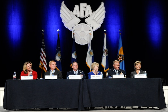 Senior leadership and spouses conduct an Air Force town hall session during the Air Force Association's Air, Space and Cyber Conference in National Harbor, Md., Sept. 19, 2016. (U.S. Air Force photo/Tech. Sgt. Natalie Stanley)