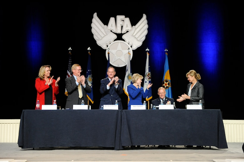 Senior leadership and spouses congratulate Chief Master Sgt. of the Air Force James A. Cody for his service during a town hall session at the Air Force Association's Air, Space and Cyber Conference in National Harbor, Md., Sept. 19, 2016. (U.S. Air Force photo/Andy Morataya)