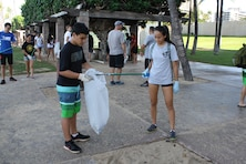 More than 65 volunteers picked up trash at Fort DeRussy in Waikiki in honor of National Public Lands Day on Sept. 17. The Corps of Engineers' Pacific Regional Visitor Center (RVC) coordinated the event which was supported by Corps employees, U.S. Army Transporters from the 545th Transportation Company, Punahou Junior ROTC cadets, AECOM, and Mokulele Elementary School.