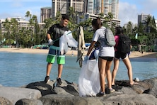 More than 65 volunteers picked up trash at Fort DeRussy in Waikiki in honor of National Public Lands Day on Sept. 17. The U.S. Army Corps of Engineers' Pacific Regional Visitor Center (RVC) coordinated the event which was supported by Corps employees, U.S. Army Transporters from the 545th Transportation Company, Punahou Junior ROTC cadets, AECOM, and Mokulele Elementary School.