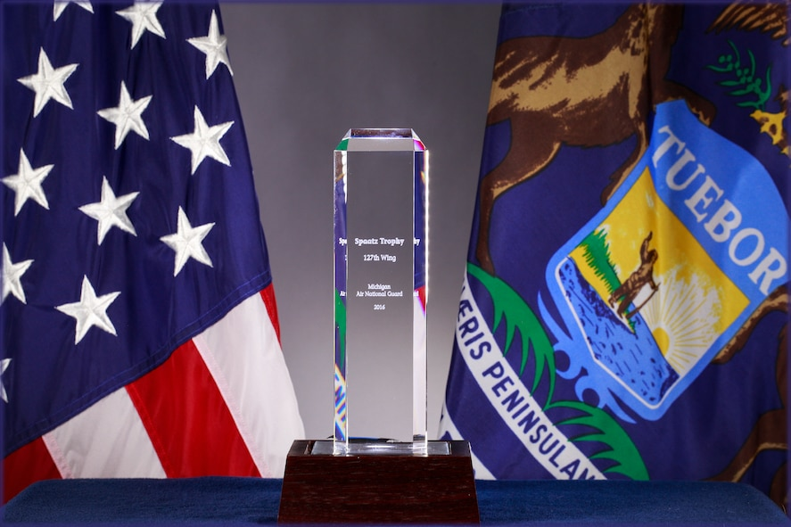 The 127th Wing has been awarded the Carl A. Spaatz Trophy as the top flying unit in the U.S. National Guard. The trophy is presented annually by the National Guard Association of the United States. (U.S. Air National Guard photo by Terry Atwell)