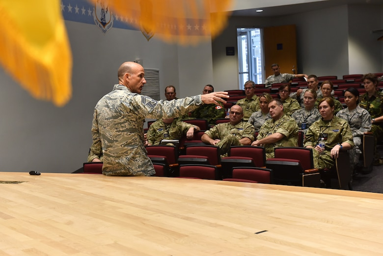 Chief Master Sgt. Edward Walden Sr., assigned to the I.G. Brown Training and Education Center, talks about the U.S. Air National Guard, Sept. 19, 2016, during the International Noncommissioned Officer Enlisted Leadership Development Seminar at McGhee Tyson Air National Guard Base in Louisville, Tenn. This year's INLEAD includes 39 NCOs from the United States, United Kingdom, Canada, Germany, Netherlands and Switzerland. (U.S. Air National Guard photo by Master Sgt. Mike R. Smith)