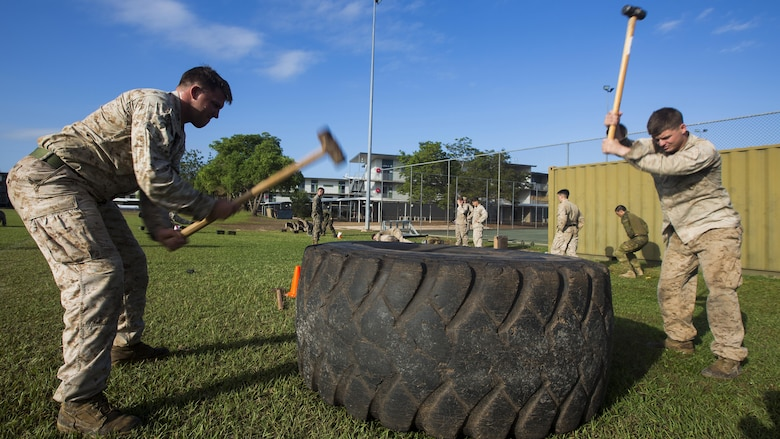 U.S. Marines with 1st Battalion, 1st Marine Regiment, Marine Rotational Force - Darwin, and Australian soldiers with 5th Battalion, Royal Australian Regiment, grapple during the Frontline Leaders Course at Robertson Barracks, Northern Territory, Australia, Sept. 9, 2016. The course is intended to be an addition to the Marine Corps Lance Corporal's Seminar, Corporal's Course, and Sergeant's Course. The course instills knowledge and leadership skills to positively impact those under their charge and the future of the Marine Corps. 1st Battalion, 1st Marine Regiment, created the course and this will be the first time the course has been officially conducted.
