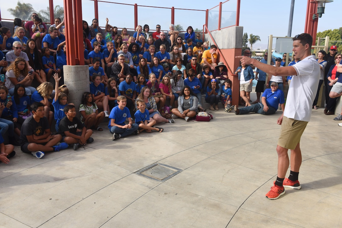 Josh Prenot, University of California Berkeley Physics major and swimmer, answers questions from students at the Santa Maria Swim Club, Sept. 9, 2016, Santa Maria, Calif. With tons of new and familiar faces looking on, Josh reflected on his journey to Rio, his experience at the Olympics, and what his future holds. (U.S. Air Force photo by Airman 1st Class Robert J. Volio/Released)