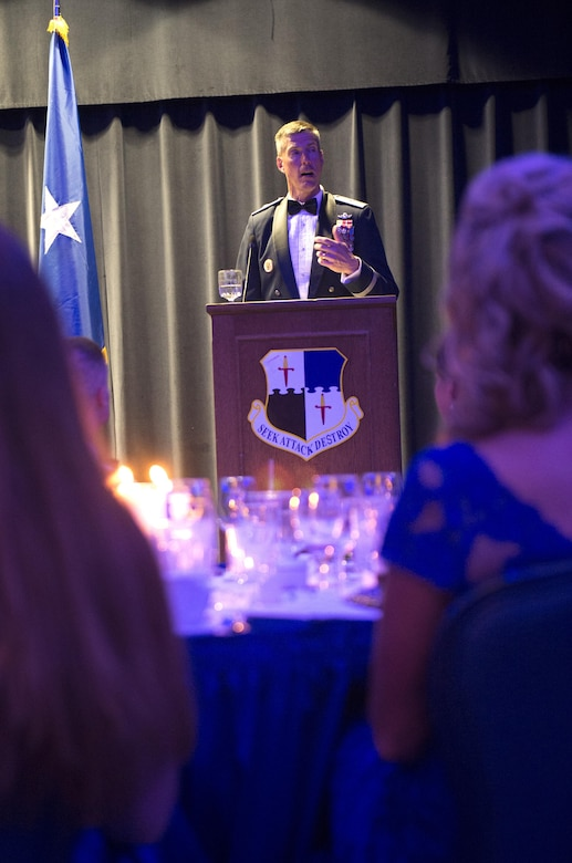 Sabers line up for a picture in their ballroom attire during the Air Force Ball at Club Eifel on Spangdahlem Air Base, Germany, Sept. 17, 2016. More than 300 members attended the annual event commemorating the Air Force's birthday. The celebration included the Singing Sabers, a guest speaker, a three course formal dinner and dancing. (U.S. Air Force photo by Airman 1st Class Preston Cherry/Released)