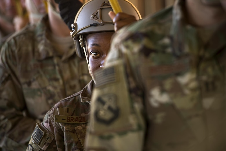 U.S. Air Force Tech. Sgt. Leticia Brazil, 823d Base Defense Squadron, practices static-line jump procedures, Sept. 16, 2016, at Moody Air Force Base, Ga. Airmen from the 820th Base Defense Group are required to jump periodically to maintain their proficiency.  (U.S. Air Force photo by Staff Sgt. Ryan Callaghan)