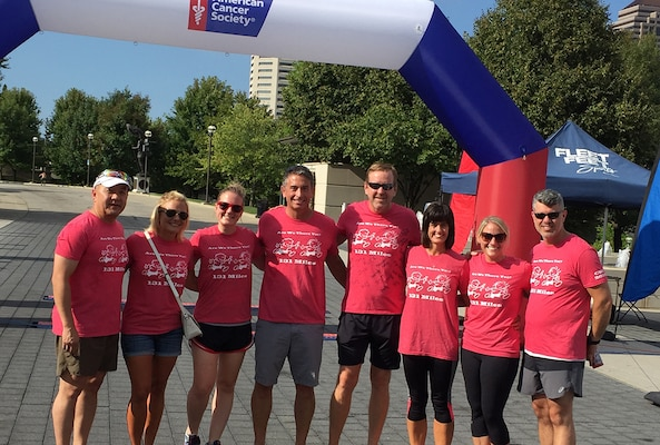 A team of current and former DLA Land and Maritime associates took part in a 131-mile relay run from Columbus to Cincinnati to raise nearly $4,000 for the American Cancer Society.