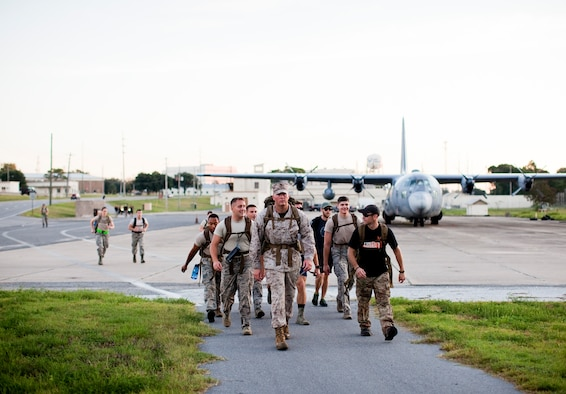 Military members from all services turned out to ruck-march across Eglin Air Force Base, Fla., Sept. 16 to arrive at the annual POW/MIA Recognition Day ceremony held at the Air Force Armament Museum.  (Courtesy photo/Andrew Olimb)