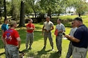U.S. Airmen from the 20th Medical Operations Squadron are evaluated on how well they performed during the 1st Annual Medic Games at Shaw Air Force Base, S.C., Sept. 9, 2016. Performing exercises as a team helps MDOS Airmen improve their skills and learn to balance tasks amongst each other. (U.S. Air Force photo by Airman BrieAnna Stillman)
