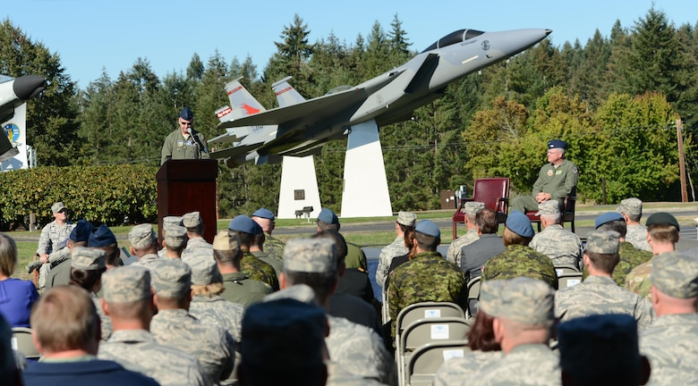 The Western Air Defense Sector holds a formal dedication ceremony Sept. 13 at the WADS Air Park for a McDonnell Douglas F-15A Eagle.  The guest speaker, Col. Robert Hehemann, the Individual Mobilization Augmentee assigned to the NORAD/US NORTHERN Command J3 Operations Division, highlights the F-15 capabilities and its role in NORAD air defense.  The WADS has been guarding America's skies in the same building 24/7 since 1960 and regularly uses F-15 alert aircraft to perform its mission. (U.S. Air Force photo by Senior Airman Jacob Jimenez)