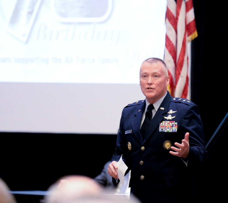 Lt. Gen. Kevin McLaughlin, the U.S. Cyber Command deputy commander, discusses cyber warfare during the Air Force Association's Air, Space and Cyber Conference in National Harbor, Md., Sept. 20, 2016. (U.S. Air Force photo/Scott M. Ash)