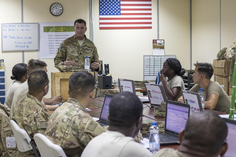 Command Sgt. Maj. William Thetford, the senior enlisted leader of U.S. Central Command, speaks to students enrolled in the Basic Leaders Course at Camp Buehring,Kuwait on Sep. 15, 2016. Thetford gave the new and soon-to-be noncommissioned officers leadership advice during his two-day visit to Kuwait. (U.S. Army photo by Sgt. Angela Lorden)