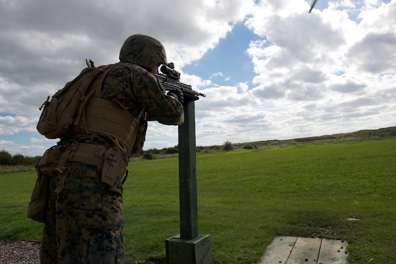 Sgt. Martin Lucero, a competitor with the Marine Corps Shooting Team, practices firing the SA80 A2 rifle from a supported standing position, Sept. 11, 2016, at Altcar Training Camp, Merseyside, England. The Marines will be firing these weapons during the Royal Marines Operational Shooting Competition from September 6-22, 2016.  The U.S. Marines are competing against the Royal Netherlands Marine Corps and the Royal Marines. The U.S. Marines are with Weapons Training Battalion, Marine Corps Base Quantico, Virginia.