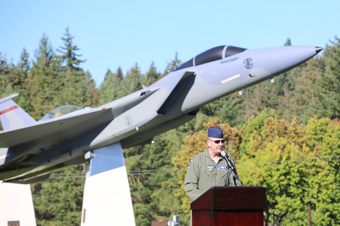 The Western Air Defense Sector holds a formal dedication ceremony Sept. 13 at the WADS Air Park for a McDonnell Douglas F-15A Eagle.  The guest speaker, Col. Robert Hehemann, the Individual Mobilization Augmentee assigned to the NORAD/US NORTHERN Command J3 Operations Division, highlights the F-15 capabilities and its role in NORAD air defense.  The WADS has been guarding America's skies in the same building 24/7 since 1960 and regularly uses F-15 alert aircraft to perform its mission. (U.S. National Guard photo by Capt. Joseph Siemandel)