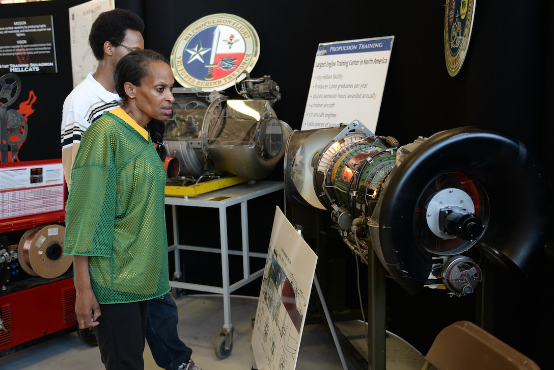 Wichita Falls and neighboring community members witness first-hand the capabilities of the 361st Training Squadron propulsion training course at Sheppard Air Force Base, Texas, Sept. 18. 2016. Sheppard opened its gates to thousands of people in the Wichita Falls and neighboring communities for its 75th Anniversary Open House and Air Show Celebration. (U.S. Air Force photo by Senior Airman Kyle E. Gese)