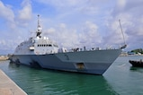 In this file photo, USS Fort Worth (LCS 3) departs Singapore in August.