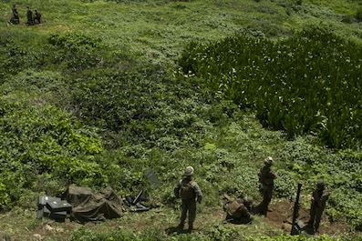 Mortarmen with Weapons Company, Battalion Landing Team, 2nd Battalion, 4th Marine Regiment, 31st Marine Expeditionary Unit, await a fire mission during 81 mm mortar-fire training on Farallon de Medinilla Range, Commonwealth Northern Mariana Islands, Sept. 16, 2016. The mortarmen fired nearly 100 81 mm mortar rounds during training on the uninhabited targeting range as part of Valiant Shield 16. Valiant Shield 16 is a biennial field training exercise designed to develop the integration of joint U.S. forces. The training enables real-world proficiency of joint forces to detect, locate, track and engage units – at sea, in the air, on land, and in cyberspace – to prepare for a range of possible military operations.