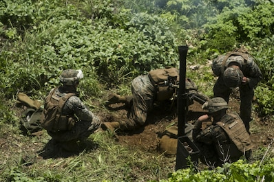 Mortarmen with Weapons Company, Battalion Landing Team, 2nd Battalion, 4th Marine Regiment, 31st Marine Expeditionary Unit, fire an 81 mm mortar during training on Farallon de Medinilla Range, Commonwealth Northern Mariana Islands, Sept. 16, 2016. The mortarmen fired nearly 100 81 mm mortar rounds during training on the uninhabited targeting range as part of Valiant Shield 16. Valiant Shield 16 is a biennial field training exercise designed to develop the integration of joint U.S. forces. The training enables real-world proficiency of joint forces to detect, locate, track and engage units – at sea, in the air, on land, and in cyberspace – to prepare for a range of possible military operations.