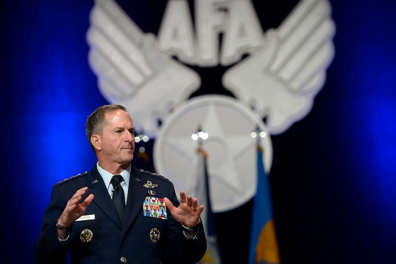 "Air Force Chief of Staff Gen. Dave Goldfein gives his first ""Air Force Update,"" during the Air Force Association's Air, Space and Cyber Conference in National Harbor, Md., Sept. 20, 2016. The 21st chief of staff announced his three focus areas: to revitalize squadrons, develop joint leaders and teams, and improve command and control. (U.S. Air Force photo/Scott M. Ash)"