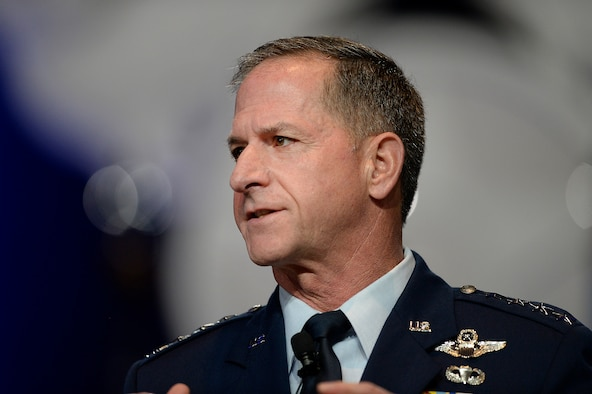 """Air Force Chief of Staff Gen. Dave Goldfein gives his first """"Air Force Update,"""" during the Air Force Association's Air, Space and Cyber Conference in National Harbor, Md., Sept. 20, 2016. The 21st chief of staff announced his three focus areas: to revitalize squadrons, develop joint leaders and teams, and improve command and control. (U.S. Air Force photo/Scott M. Ash)"""