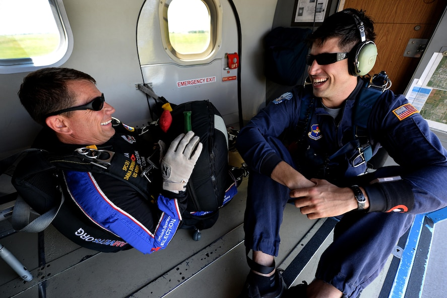 Dana Bowman, retired sergeant first class with the U.S. Army and well-renowned skydiver, and Tech Sgt. Trevor Veitz, U.S. Air Force Wings of Blue jump master, prepares to jump from UV-18B Twin Otter aircraft with the during the Sheppard Air Force Base, Texas, practice air show, Sept. 16, 2016. Bowman jumped along with the Air Force team to open the 75th Anniversary Air Show celebration. (U.S. Air Force photo by Senior Airman Kyle E. Gese)