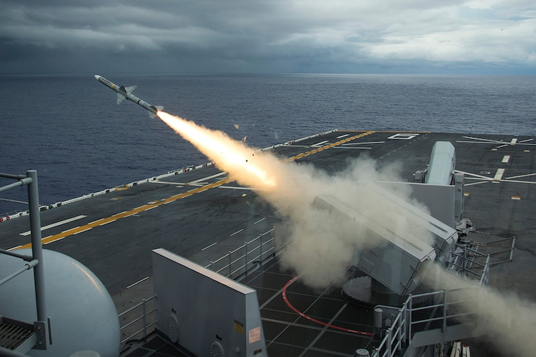 Amphibious assault ship USS Bonhomme Richard (LHD 6) fires a NATO Sea Sparrow surface-to-air missile to intercept a remote-controlled drone as part of Valiant Shield 2016 (VS16). VS16 is a biennial, U.S.-only, field training exercise (FTX) with a focus on integration of joint training among U.S. forces. This training enables real-world proficiency in sustaining joint forces through detecting, locating, tracking and engaging unity at sea, in the air, on land, and in cyberspace in response to a range of mission areas. Bonhomme Richard, flagship of the Bonhomme Richard Expeditionary Strike Group, is operating in the Philippine Sea in support of security and stability in the Indo-Asia Pacific region.