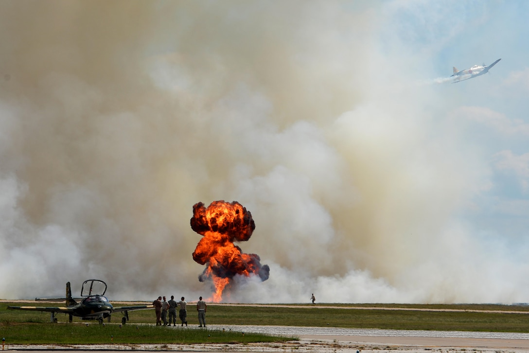 A Tora Tora Tora Mitsubishi A6M Japanese WWII attack plane flies along the runway as it reenacts the Dec. 7, 1941, attack on Pearl Harbor, for the Sheppard Air Force Base, Texas, 75th Anniversary Air Show, Sept. 17, 2016. Tora Tora Tora began in 1972 when six replica Japanese aircraft were donated to the Commemorative Air Force. They now continue to reenact the attack on Pearl Harbor as a memorial to soldiers on both sides who gave their lives for their countries. (U.S. Air Force photo by Senior Airman Kyle E. Gese)