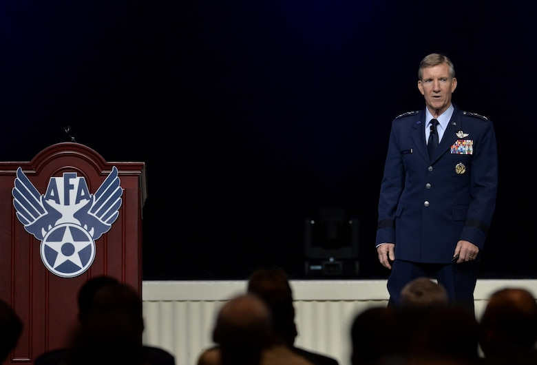 Gen. Hawk Carlisle, the Air Combat Command commander, speaks during the Air Force Association's Air, Space and Cyber Conference in National Harbor, Md., Sept. 20, 2016. Carlisle highlighted the efforts of Airmen in the joint fight and encouraged the Air Force's partnership with industry. (U.S. Air Force photo/Staff Sgt. Whitney Stanfield)