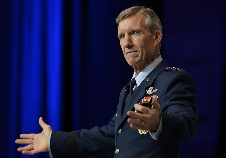 Gen. Hawk Carlisle, the Air Combat Command commander, speaks during Air Force Association's Air, Space and Cyber Conference in National Harbor, Md., Sept. 20, 2016. ACC operates more than 1,300 aircraft, 34 wings, 19 bases, and more than 70 operating locations worldwide with 94,000 active-duty and civilian personnel. (U.S. Air Force photo/Staff Sgt. Whitney Stanfield)