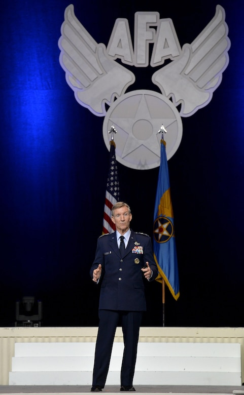 Gen. Hawk Carlisle, the Air Combat Command commander, speaks during the Air Force Association's Air, Space and Cyber Conference in National Harbor, Md., Sept. 20, 2016. ACC provides conventional and information warfare forces to all unified commands to ensure air, space and information superiority for warfighters and national decision-makers. (U.S. Air Force photo/Staff Sgt. Whitney Stanfield)