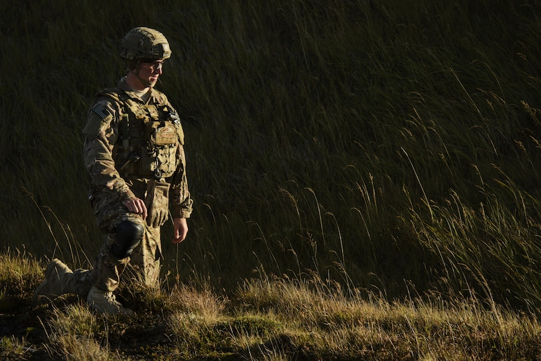 U.S. Air Force Senior Airman Kyle Koski,  52nd Civil Engineer Squadron explosive ordnance disposal journeyman, Spangdahlem Air Base, Germany, provides over watch during Northern Challenge 16 exercise at Icelandic Coast Guard Keflavik Facility, Iceland, Sept. 19, 2016. The exercise focused on disabling improvised explosive devices in support of counter-terrorism tactics to prepare Partnership for Peace, NATO, and Nordic nations for international deployments and defense against terrorism. (U.S. Air Force photo by Staff Sgt. Jonathan Snyder)