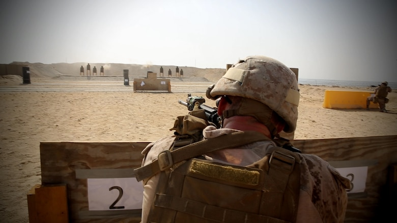 A Marine with Security Forces Company, Marine Wing Support Squadron-373, Special Purpose Marine Air Ground Task Force-Crisis Response-Central Command, participates in a live-fire and maneuver range while forward deployed, July 18, 2016. SPMAGTF – CR – CC is a self-sustaining expeditionary unit, designed to provide a broad range of crisis response capabilities throughout the Central Command area of responsibility, using organic aviation, logistical, and ground combat assets. (Photo by Cpl. Danielle Rodrigues/ Released)