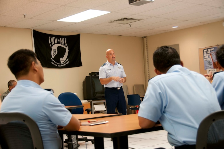 U.S. Air Force Maj. Michael O'Donnell, mission crew commander from the Hawaii Air National Guard's 169th Air Defense Squadron, briefs the Indonesian delegates on the first day of the Subject Matter Expert Exchange for the State Partnership Program on Wheeler Army Airfield, Hawaii on Aug. 30, 2016. The State Partnership Program is administered by the National Guard Bureau, guided by State Department foreign policy goals, and executed by the state adjutants general in support of combatant commander of U.S. Chief of Mission security cooperation objectives and Department of Defense policy goals. (U.S. Air National Guard photo by Airman 1st Class Stan Pak/released)