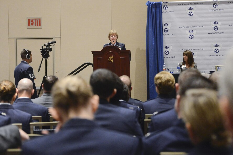 Chief of Air Force Reserve Lt. Gen. Maryanne Miller discusses protecting, building and shaping the future of the Reserve during Air Force Association's Air, Space, Cyber Conference in National Harbor, Md., Sept. 20, 2016. (U.S. Air Force photo/Andy Morataya)