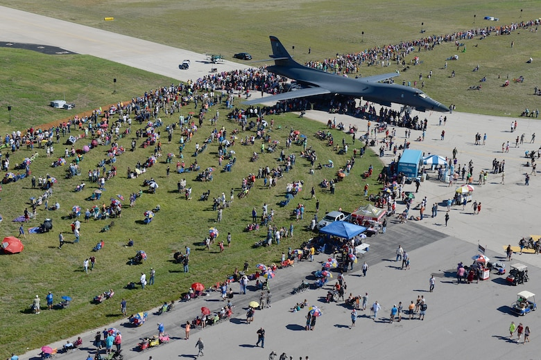 Thousands of people from Wichita Falls and neighboring communities attend the 75th Anniversary Open House and Air Show Celebration on Sheppard Air Force Base, Texas, Sept. 17, 2016. The celebration had numerous performers such as the Tora Tora Tora Pearl Harbor reenactment, the Air Force Wings of Blue, skydiver Dana Bowman, Viper Air Show jet car and solo demo, Randy Ball's Mig 17 and Vietnam T-37 demo, Kent Pietsch Jelly Belly comedy air act, Texas Raiders B-17 WWII demo, Freedom Flyers P-51 WWII demo, and the world-famous U.S. Air Force Thunderbirds. (U.S. Air Force photo by Senior Airman Kyle E. Gese)