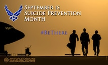 Every Airman plays a role in suicide prevention, #BeThere. Services for Airmen include mental health, chaplains, Wingman Online and Military One Source. (U.S. Air Force courtesy graphic/Released)
