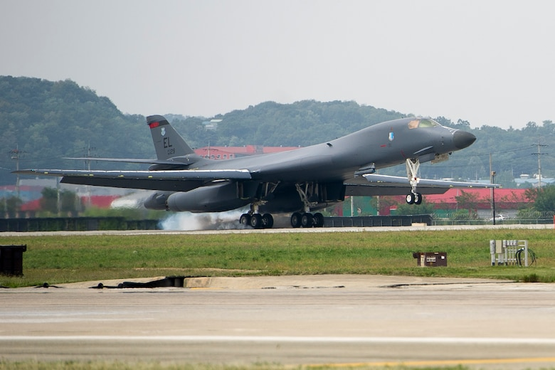 A U.S. Air Force B-1B Lancer deployed from Andersen Air Base, Guam, performs a landing at Osan Air Base, Republic of Korea, Sept. 21, 2016. This is the first time the Lancer has landed on the Korean peninsula in 20 years. The B-1 is the backbone of the U.S. long-range bomber mission and is capable of carrying the largest payload of both guided and unguided weapons in the Air Force inventory.(U.S. Air Force photo by Staff Sgt. Jonathan Steffen)