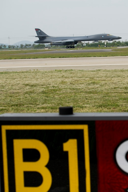 A U.S. Air Force B-1B Lancer, deployed from Andersen Air Base, Guam, lands at Osan Air Base, Republic of Korea, Sept. 21, 2016, as a strategic display of airpower. Today marks the first time the airframe has landed on the Korean peninsula in 20 years, as well as conducting the closest flight near North Korea ever. The B-1 is the backbone of the U.S. long-range bomber mission and is capable of carrying the largest payload of both guided and unguided weapons in the Air Force inventory. (U.S. Air Force photo by Staff Sgt. Jonathan Steffen)