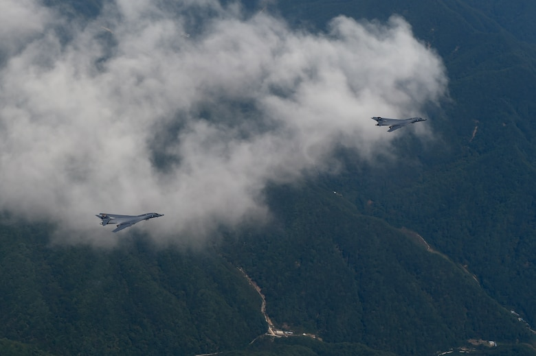 Two U.S. Air Force B-1B Lancers deployed to Andersen Air Base, Guam, fly over Republic of Korean skies Sept. 21, 2016. The flight was the closest a B-1 has ever flown to the border between the ROK and North Korea. The B-1 is the backbone of the U.S. long-range bomber mission and is capable of carrying the largest payload of both guided and unguided weapons in the Air Force inventory. (Republic of Korea air force photo by Chief Master Sgt. Kim, Kyeong Ryul)