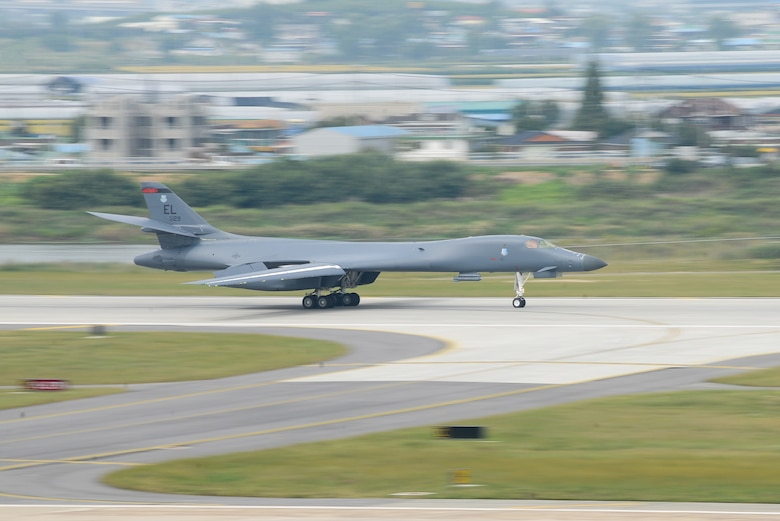 A U.S. Air Force B-1B Lancer assigned to Andersen Air Base, Guam, performs a landing at Osan Air Base, Republic of Korea. Sept. 21, 2016. The B-1 is the backbone of the U.S. long-range bomer mission and is capable of carrying the largest payload of both guided and unguided weapons in the Air Force Inventory. The flight was the closest a B-1 has ever flown to the border between the Republic of Korea and North Korea. (U.S. Air Force photo by Senior Airman Dillian Bamman)