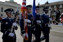 U.S. Air Force honor guard members march during the Battle of Britain parade Sept. 19, 2016, in Bury St. Edmunds, England. The Battle of Britain parade participants started the march out of the Abbey Gardens, followed the route along Angel Hill to St. Mary's Church then ended back in the gardens. (U.S. Air Force photo by Airman 1st Class Tenley Long)