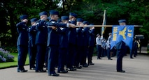 U.S. Air Force Airmen from RAF Mildenhall participate in the Battle of Britain parade Sept. 19, 2016, in Bury St. Edmunds, England. The annual parade, held on the Sunday falling closest to Sept. 15 – Battle of Britain Day – ended with a salute in the Abbey Gardens. (U.S. Air Force photo by Airman 1st Class Tenley Long)